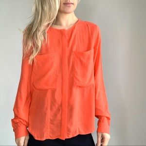 Anthropologie Maeve Coral Red Pocket Button Down